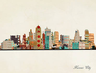 Painting - Kansas City Skyline by Bleu Bri