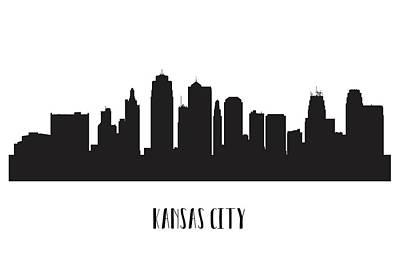 Digital Art - Kansas city skyline silhouette by Beautiful Things