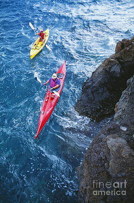 Kayaking Along Coastline Art Print by Ron Dahlquist - Printscapes