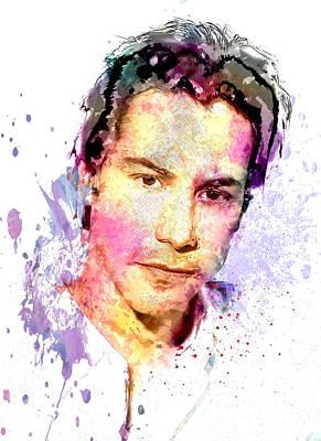 Keanu Digital Art - Keanu Reeves by Elena Kosvincheva