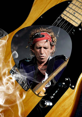 Guitar Mixed Media - Keith Richards The Rolling Stones Art by Marvin Blaine
