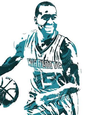 Kemba Walker Charlotte Hornets Pixel Art 3 Art Print by Joe Hamilton
