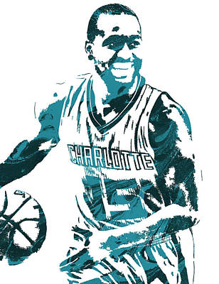 Hornet Wall Art - Mixed Media - Kemba Walker Charlotte Hornets Pixel Art 3 by Joe Hamilton