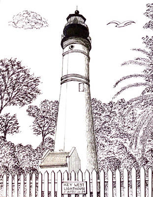 Drawing - Key West Lighthouse by Frederic Kohli