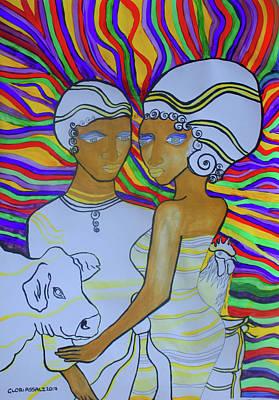 Kintu And Nambi The Folktale Art Print by Gloria Ssali