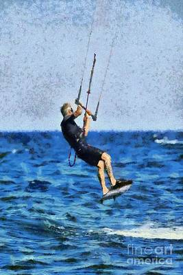 Painting - Kite Surfing by George Atsametakis
