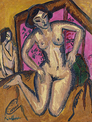 Germany Painting - Kneeling Nude In Front Of Red Screen by Ernst Ludwig Kirchner