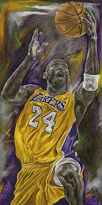 La Lakers Kobe Bryant Nba Basketball David Courson Sports Art Painting - Kobe Bryant by David Courson