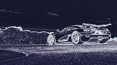 Digital Art - Koenigsegg Agera Rs White by PixBreak Art