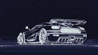 Digital Art - Koenigsegg  by PixBreak Art