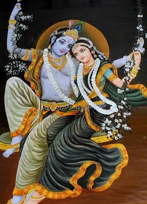 Krishna Radha On Silk Art Print by Rupali  Motihar