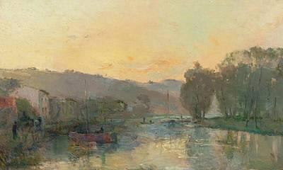 Soleil Couchant Painting - La Seine Au Bas by Albert