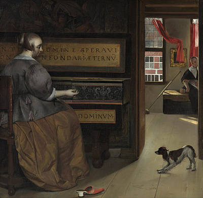 Interior Scene Painting - Lady At A Virginal by Gabriel Metsu