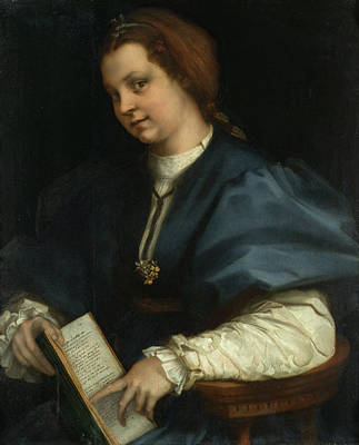 Sarto Painting - Lady With A Book Of Petrarch's Rhyme by Andrea del Sarto