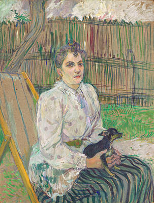 Adele Wall Art - Painting - Lady With A Dog by Henri de Toulouse-Lautrec