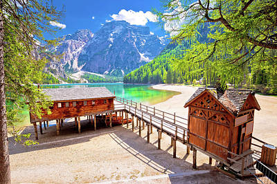 Photograph - Lago Di Braies Turquoise Water And Dolomites Alps View by Brch Photography