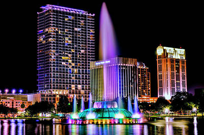Photograph - Lake Eola Fountain by Bill Dodsworth