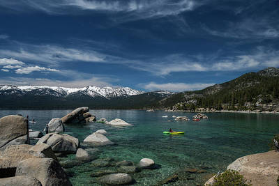 Photograph - Lake Tahoe Scene With Puffy Clouds And Snow On Mountains by Dan Friend