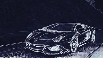 Digital Art - Lamborghini Aventador Lp720 by PixBreak Art