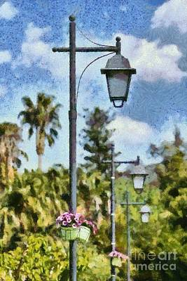 Painting - Lampost With Flowers In Nafplio Town by George Atsametakis