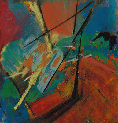 Blue And Red Painting - Landing Sight by Ethel Vrana