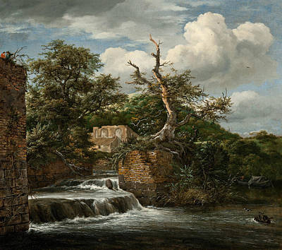 Painting - Landscape With A Mill-run And Ruins by Jacob van Ruisdael