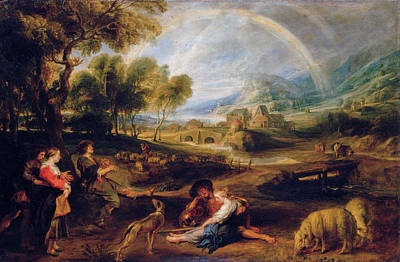 Puppy Painting - Landscape With A Rainbow by Peter Paul Rubens