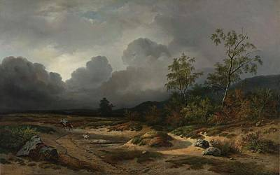 Thunder Painting - Landscape With A Thunder Storm Brewing by Willem Roelofs