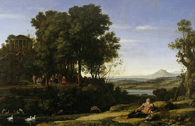 Geese Painting - Landscape With Apollo And The Muses by Claude Lorrain