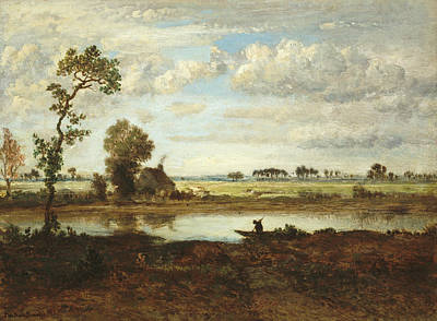 Painting -  Landscape With Boatman by Theodore Rousseau