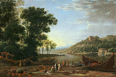 Painting -  Landscape With Merchants by Claude Lorrain