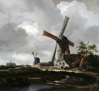 Painting - Landscape With Windmills Near Haarlem by Jacob van Ruisdael