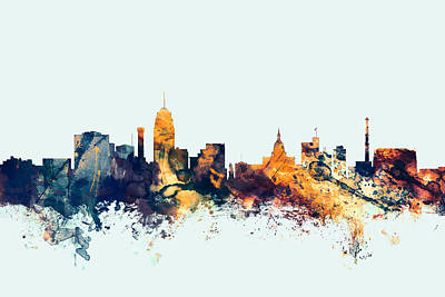 Watercolour Wall Art - Digital Art - Lansing Michigan Skyline by Michael Tompsett