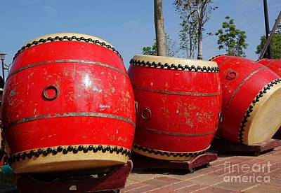 Bronce Photograph - Large Chinese Drums by Yali Shi