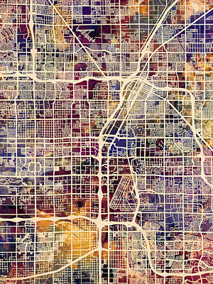 Nevada Digital Art - Las Vegas City Street Map by Michael Tompsett