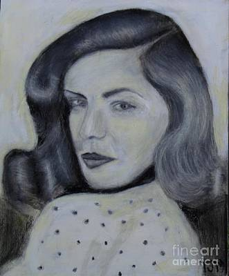 Charcoal Drawing Drawing - Lauren Bacall by Anthony Morretta