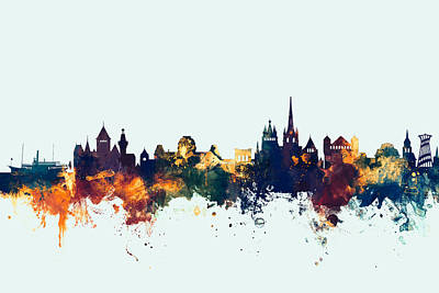 Switzerland Digital Art - Lausanne Switzerland Skyline by Michael Tompsett