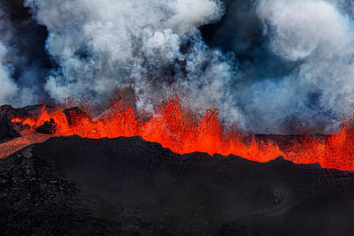 Lava Fountains At The Holuhraun Fissure Art Print by Panoramic Images