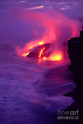 Lava Meets The Sea Art Print by William Waterfall - Printscapes