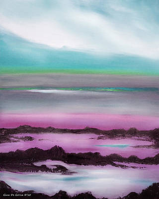 Painting - Lava Rock Sunset In Blue And Purple by Gina De Gorna