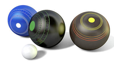Kitty Digital Art - Lawn Bowls And Jack by Allan Swart