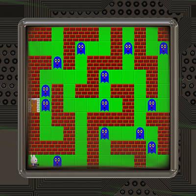Processor Digital Art - Lcd Screen With Retro Style Game Generated Texture by Miroslav Nemecek
