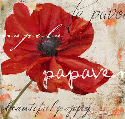 Word Art Painting - Le Pavot by Mindy Sommers
