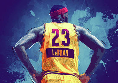 Kobe Bryant Digital Art - Lebron James by Semih Yurdabak
