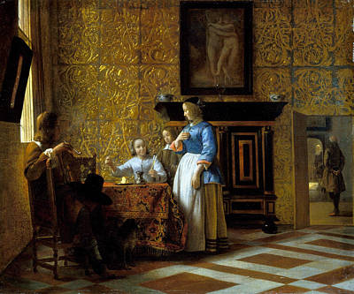 Photograph - Leisure Time In An Elegant Setting by Pieter de Hooch