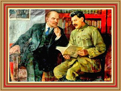 Lenin Digital Art - Lenin And Stalin Portrait - After A A Vasiliev L As by Gert J Rheeders