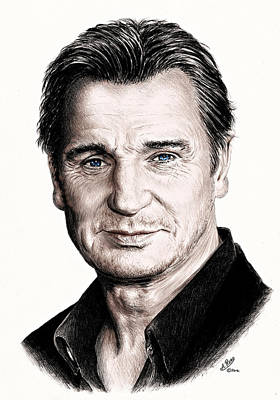 Action Drawing - Liam Neeson by Andrew Read