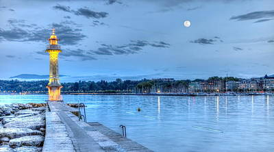 Photograph - Lighthouse At The Paquis, Geneva, Switzerland, Hdr by Elenarts - Elena Duvernay photo