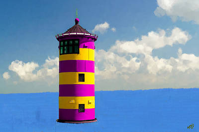 Purple Painting - Lighthouse On The Sea by Bruce Nutting