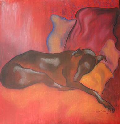 Greyhounds Mixed Media - Lily Sleeping by Beryl Stewart